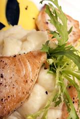 Hot fish dish with sauce