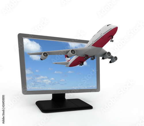 The plane takes off from the monitor