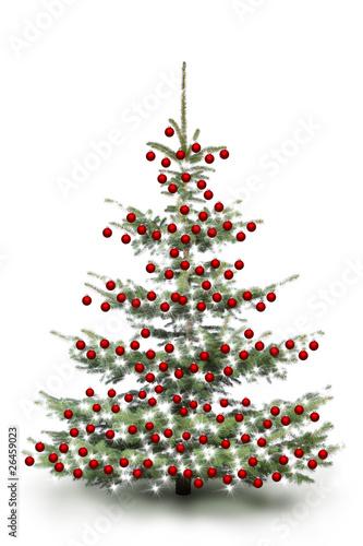 rot dekorierter weihnachtsbaum von by studio lizenzfreies. Black Bedroom Furniture Sets. Home Design Ideas