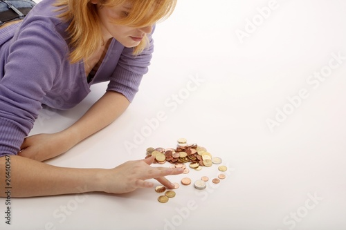 woman with euro money coins