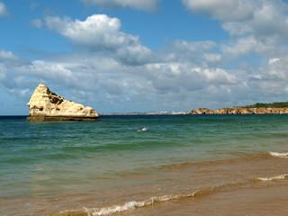 Beach of Praia de Rocha in Portimao, Algarve, Portugal