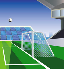 Soccer  field, goal and stadium. Vector illustration.