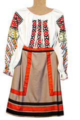 national folklore woman's shirt and skirt isolated on white
