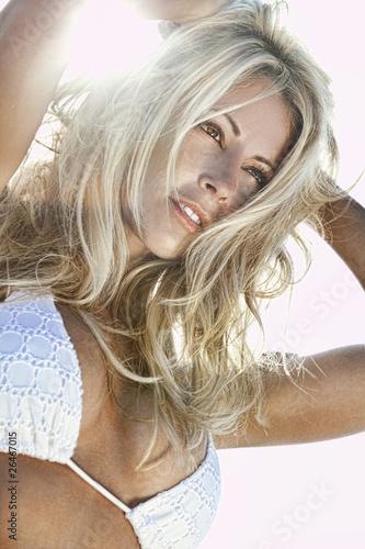 HDR Photo Backlit Sexy Blond Girl In White Bikini