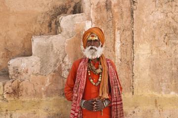 India, Rajasthan, Jaipur, the Amber Fort, an indian sadhu