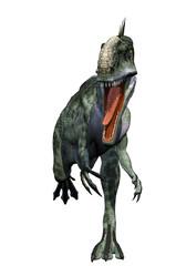Monolophosaurus running for life white background
