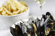 mussel,frie and white wine