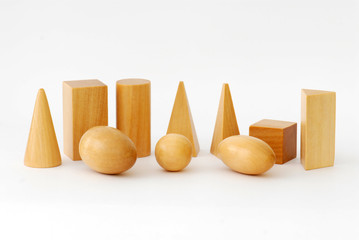 Wooden Geometric Objects against White Background