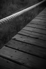 passadiço de praia a preto e branco