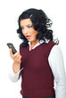 Woman looking shocked to phone mobile