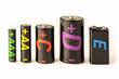 Leinwandbild Motiv Group of batteries isolated on white background