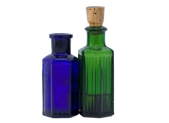 Green and blue chemical bottles