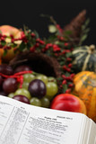 Thanksgiving Scripture and cornucopia poster