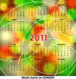 Bright color calendar 2011. Week start on sunday