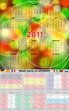 Multilingual calendar 2011. Week start on monday. Vector