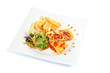 Crepes with finger chips and salad ready to eat