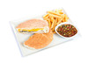 Cheese fillet with french fries and sauce