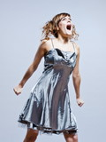 beautiful young girl with prom dress screaming anger poster