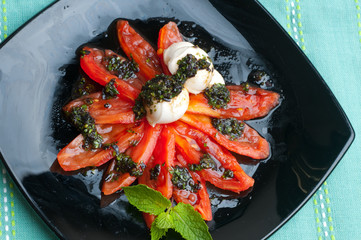 tomato with sauce from  basil.