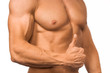Bodybuilder mit Top Daumen