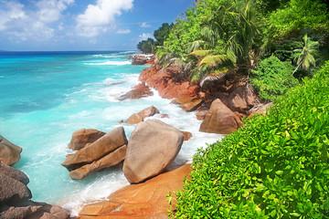 Stunning La Digue idyllic Tropical Seychelles Island