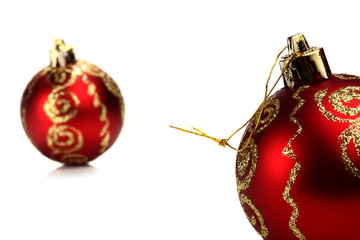 red ball decoration for a ñhristmas tree