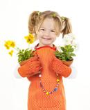 kleine Gärtnerin mit zwei Blumentöpfen - Fine Art prints