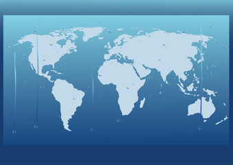 vector background with world map after wet glass