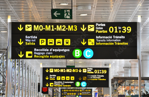 Signs in a spanish airport - 26483071