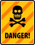 Skull and crossbones danger sign, vector illustration poster