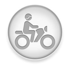 """White Button / Icon """"Motorbike Trail"""""""
