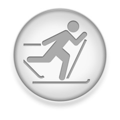 """White Button / Icon """"Cross-Country Skiing"""""""
