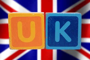 uk and flag in toy letters