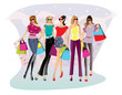Shopping women illustration