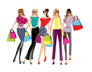 Shopping women illustration