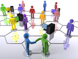 Diverse business network with computers