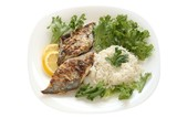 fried flounder with lettuce and rice poster