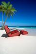 Comfortable sofa on the beach