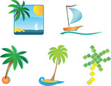 Set of 6 tourism icons and design elements