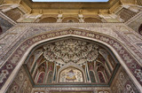 India, Rajasthan, Jaipur, the Amber Fort, wall decorations