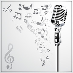 Musical background with retro microphone