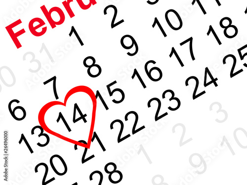 Valentine's day reminder heart on calendar