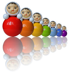 Seven rainbow colored roly-poly toys with reflection (isolated)