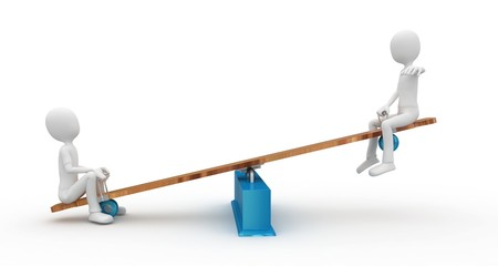 3d man with seesaw