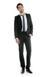 Fashion full length elegant young black suit man