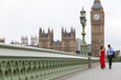 Romantic Couple on Westminster Bridge by Big Ben, London England