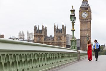 Romantic Couple on Westminster Bridge by Big Ben, London England