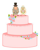 Vector Illustration of pink sweet wedding cake
