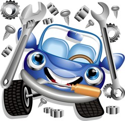 Auto Meccanico Cartoon-Garage Mechanic-Car-Vector