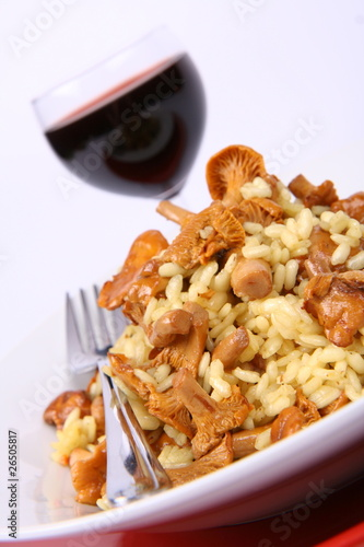 Risotto with mushrooms with parsley and a glass of red wine